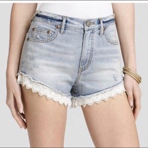 Free People lace denim shorts